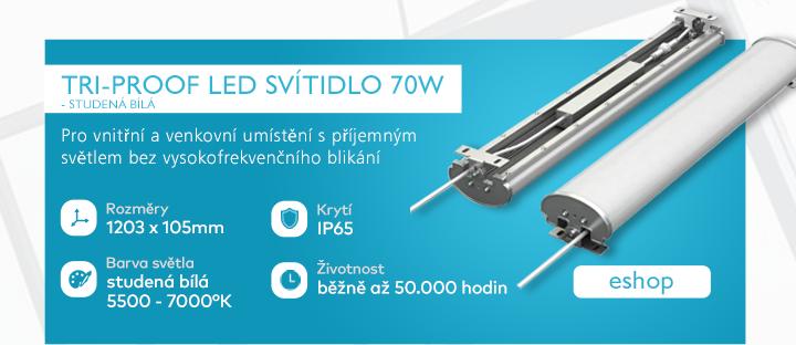 Tri-Proof LED svítidlo, 70W, studená bílá