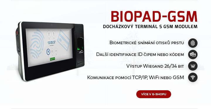 |   Docházkový terminál s GSM modulem Biopad  |