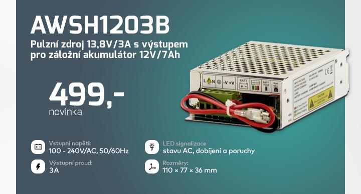 |  AWSH1203B - Pulzní zdroj 13,8V/3A  |