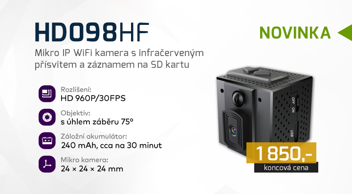 |  HD098HF - Mikro IP WiFi kamera  |