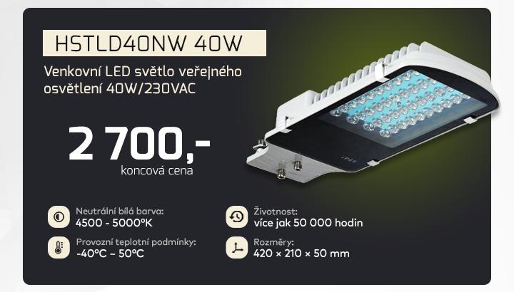 |  Venkovní LED světlo veřejného osvětlení 40W/230VAC  |